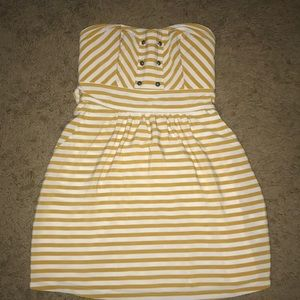 Mustard and white summer mini dress